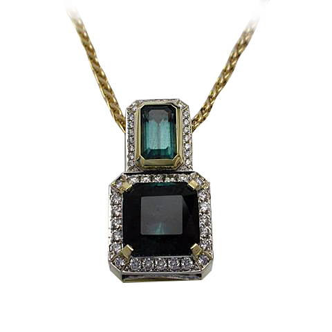 Platinum and 18kt Yellow Gold Green Tourmanline and Aquamarine Pendant