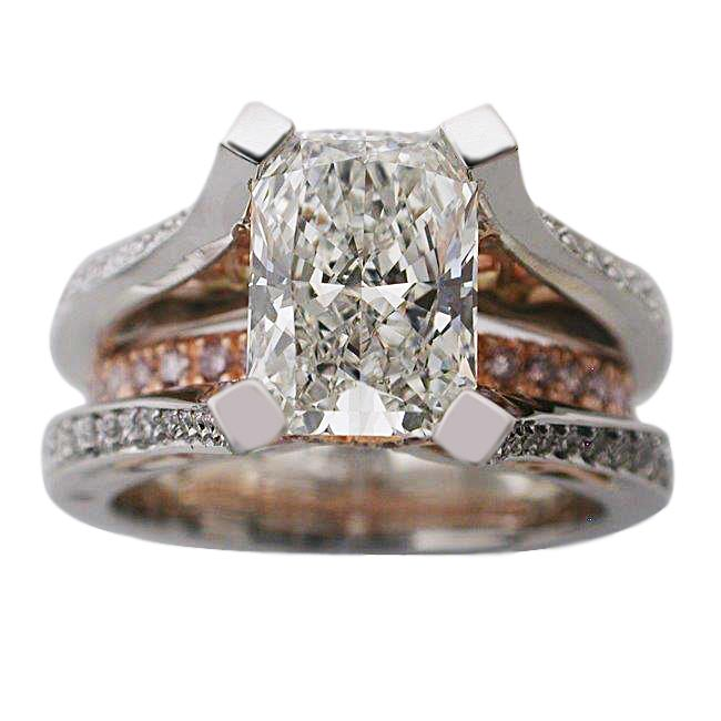 Platinum & 18kt Rose Gold Radiant Cut Diamond Ring by RGC