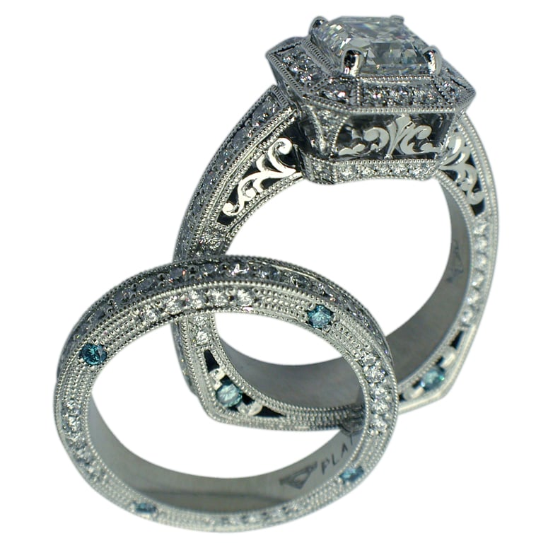 Platinum Princess Cut Diamond Filigree Hand Engraved Ring shown with Matching Wedding Band