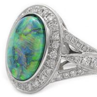 Platinum Opal and Diamond Ring by RGC