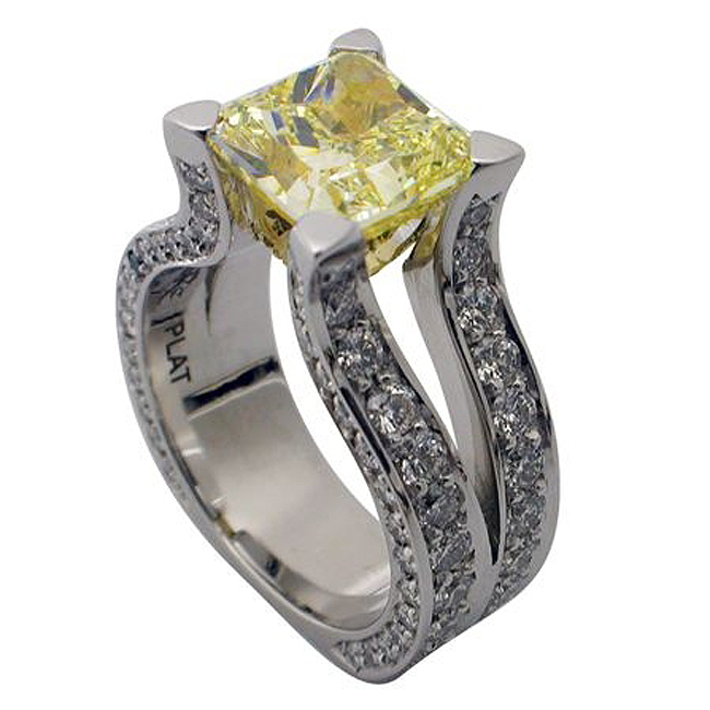 Platinum Radiant Cut Canary Yellow Diamond Ring