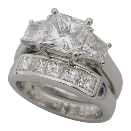 Platinum Princess Cut Diamond Wedding Ring Set