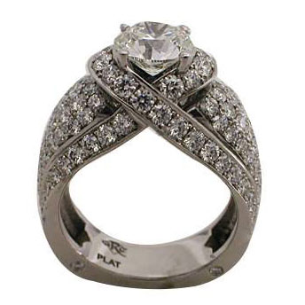 Platinum Round Brilliant Diamond Engagement Ring by RGC