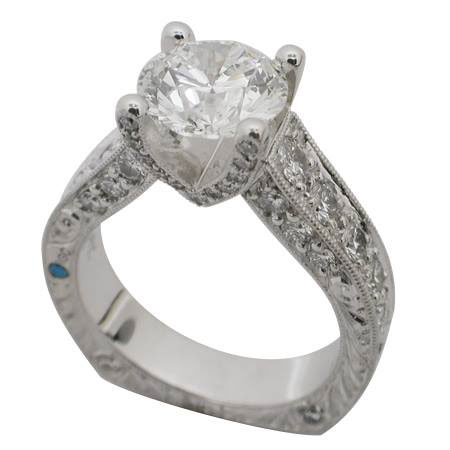 Platinum Round Brilliant Diamond Ring by RGC