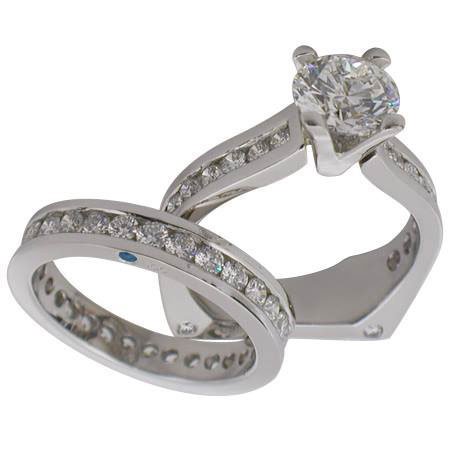 Platinum Round Brilliant Diamond Engagement Ring & Wedding Band by RGC