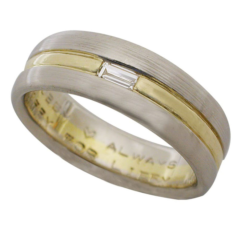 Platinum and 18kt Gold Baguette Diamond Men's Wedding Band