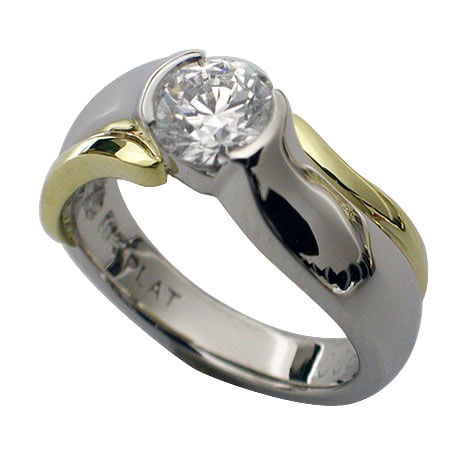 Platinum and 18kt Gold Diamond Engagement Ring