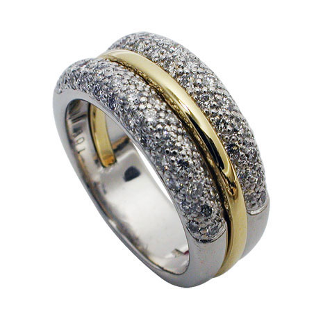 Platinum and 18kt Yellow Gold Pave Diamond Wedding Band