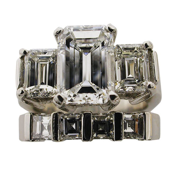 Three Ring Emerald Cut Wedding Set