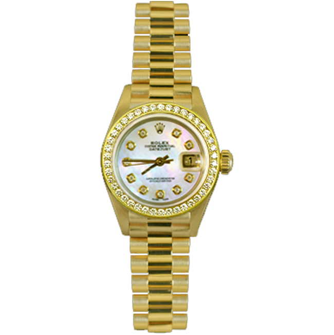 Ladies' 18kt Yellow Gold  & Diamond Date Just Rolex Watch