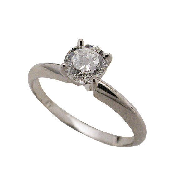 14k White Gold Round Brilliant Solitaire Ring