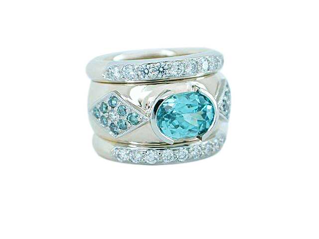 14kt Two Tone Gold Blue Zircon Ring