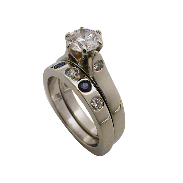14kt White Gold Diamond & Sapphire Wedding Set
