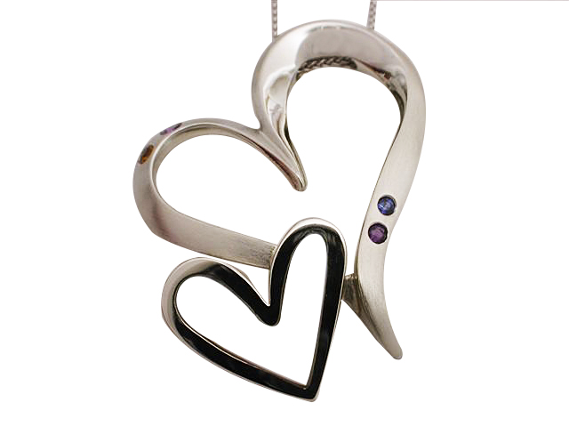 14kt White Gold Double Heart Pendant