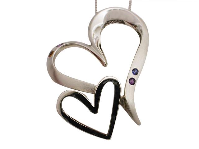 14kt White Gold Double Heart Pendant