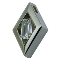 14kt White Gold Emerald Cut Diamond Pendant