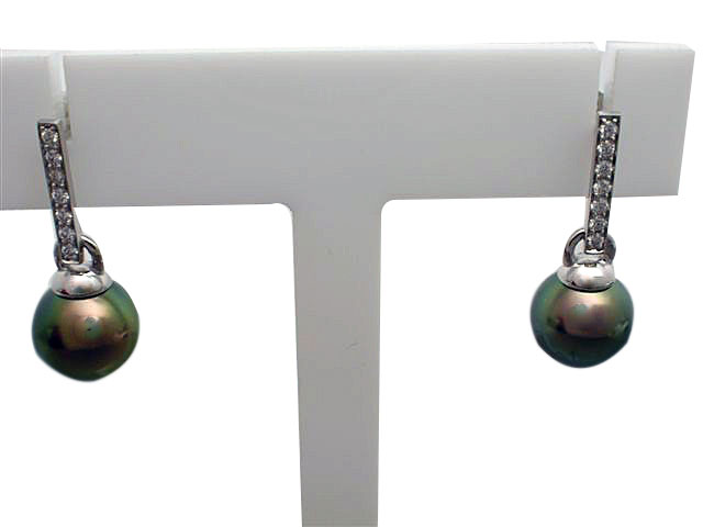 14kt White Gold Tahitian Pearl & Diamond Earrings