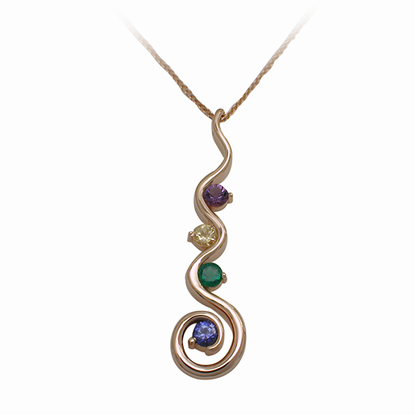 14kt Yellow Gold Mother's Gemstone Pendant