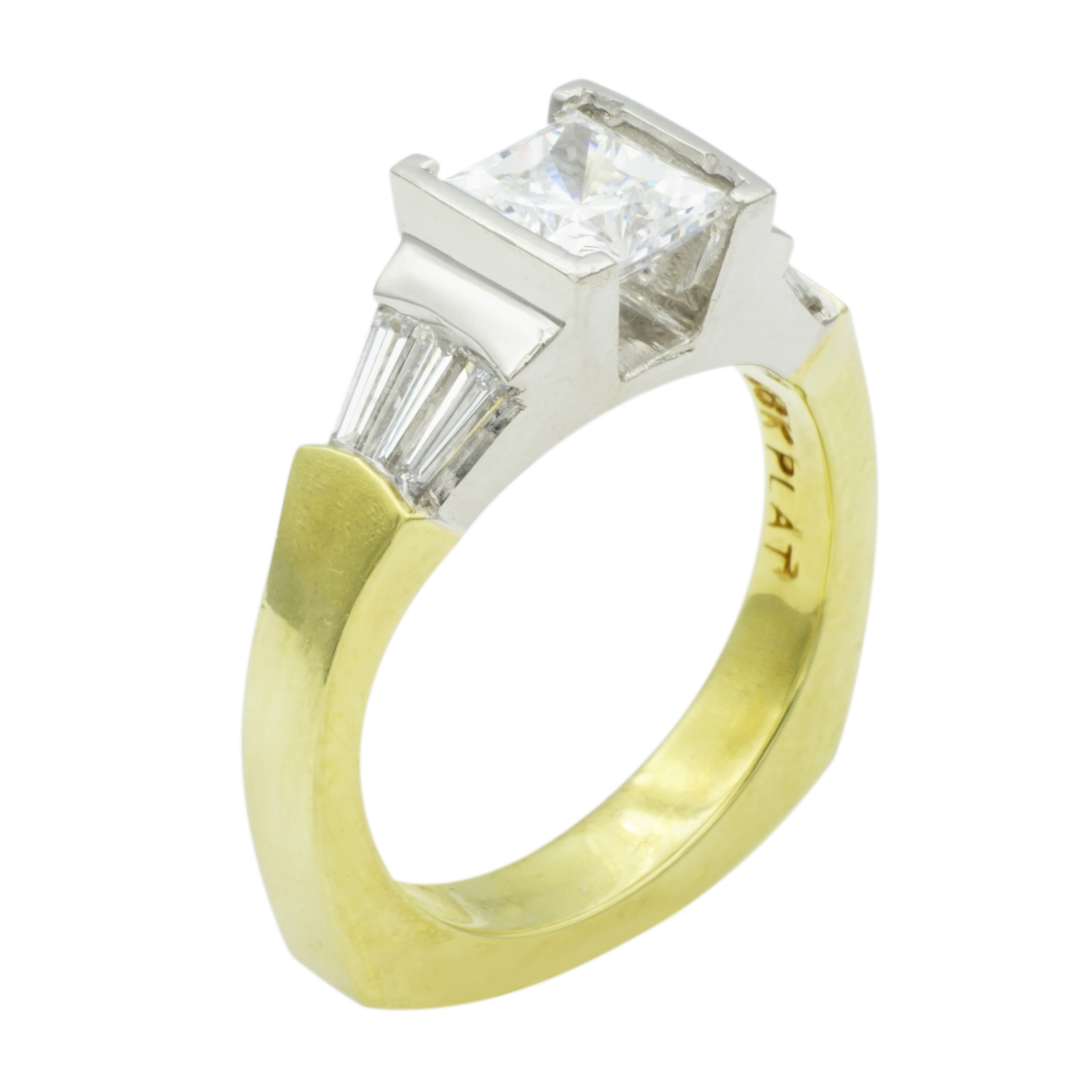 Princess Cut & Baguette Diamond Platinum & 18k Yellow Gold Engagement Ring