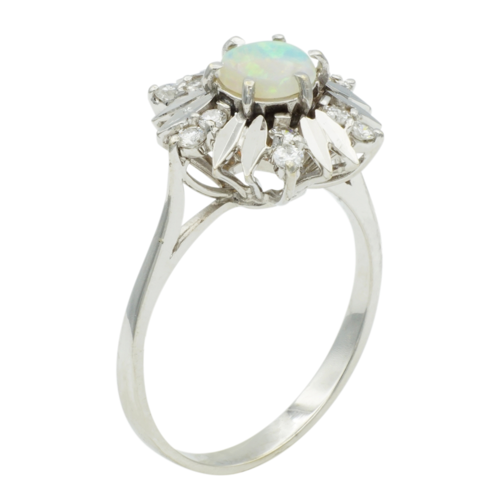 14kt White Gold White Opal Ring