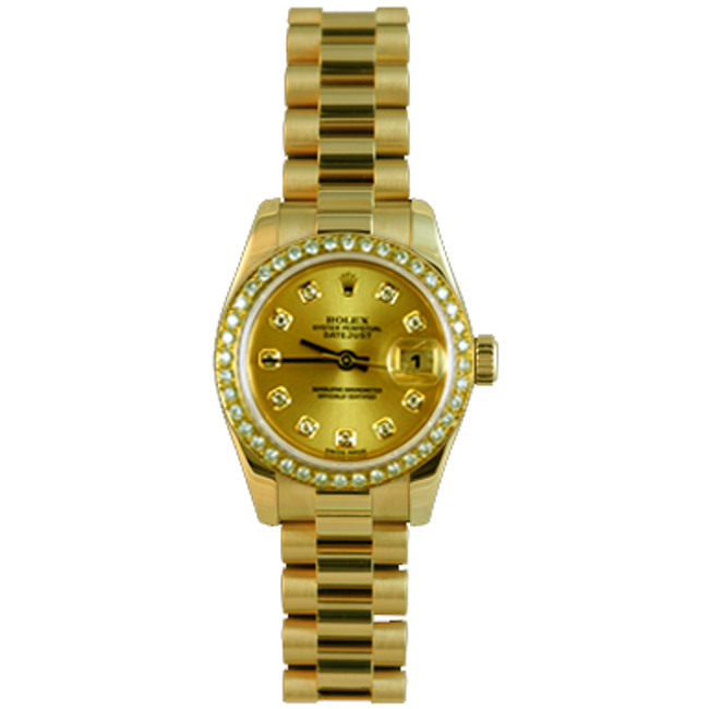 Ladies Yellow Gold President Rolex Watch