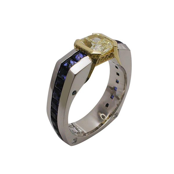 Men's Yellow Diamond & Sapphire Ring