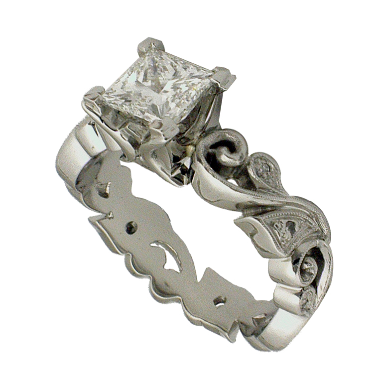 Platinum Floral Filigree Diamond Engagement Ring