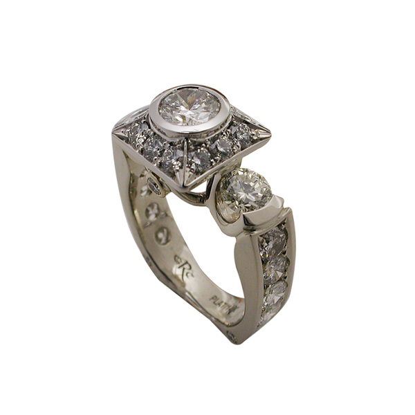 Platinum Round Brilliant Bezel Ring