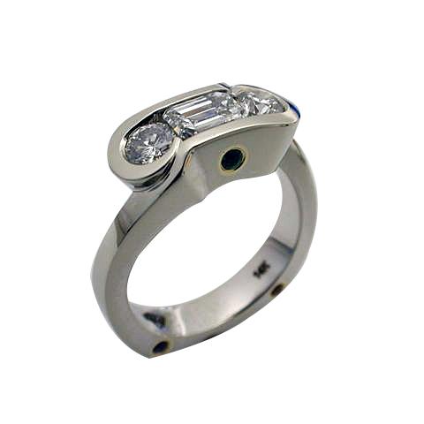 Platinum & 18kt Yellow Gold Emerald Cut Diamond Ring