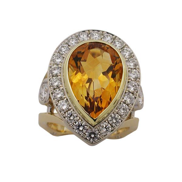 Two-Tone Gold Citrine & Diamond Ring