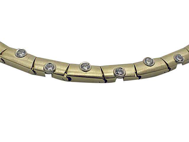 14kt Two-Tone Gold Diamond Bracelet close up view