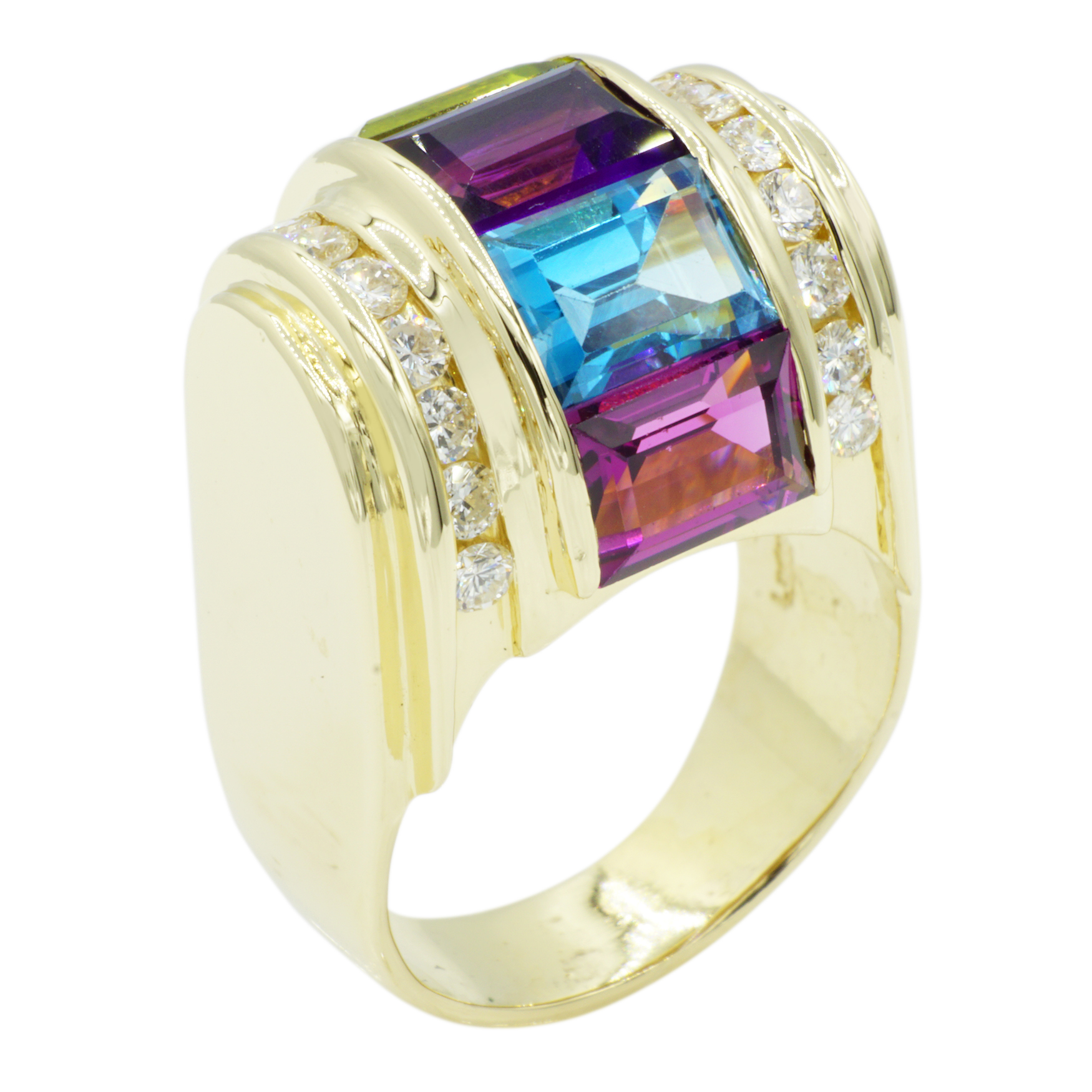 14kt Yellow Gold Gemstone and Diamond Ring