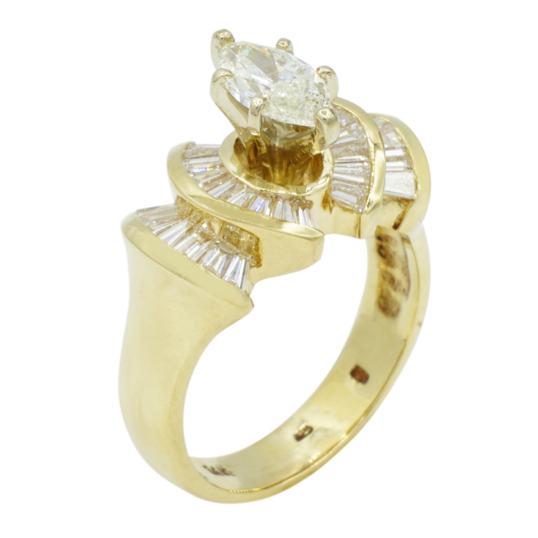 14kt Yellow Gold Marquis Diamond Ring