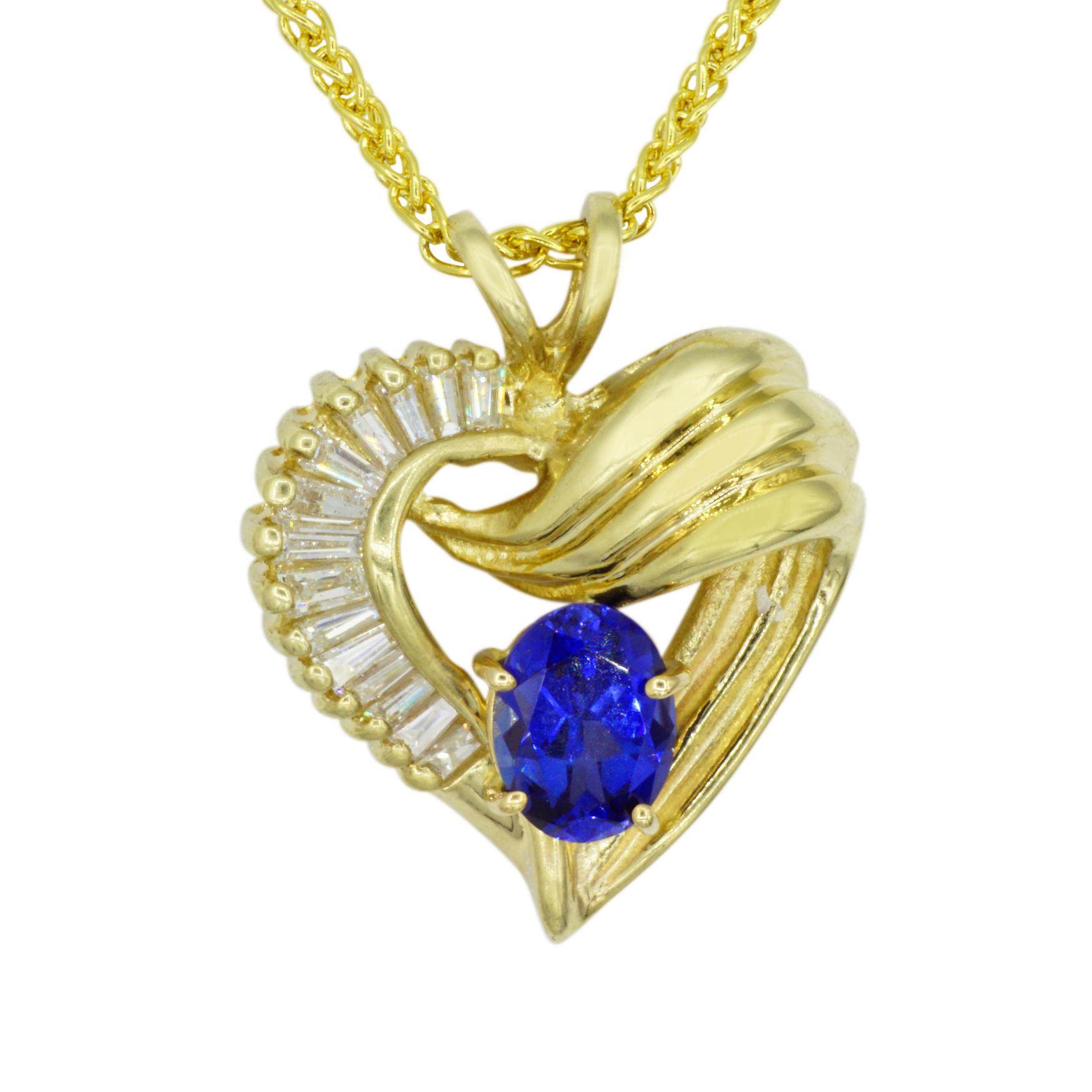 14kt Yellow Gold Sapphire and Diamond Heart Pendant