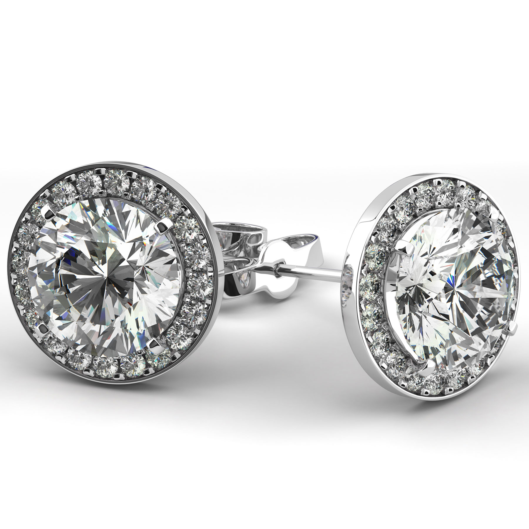 14kt White Gold Diamond Halo Stud Earrings