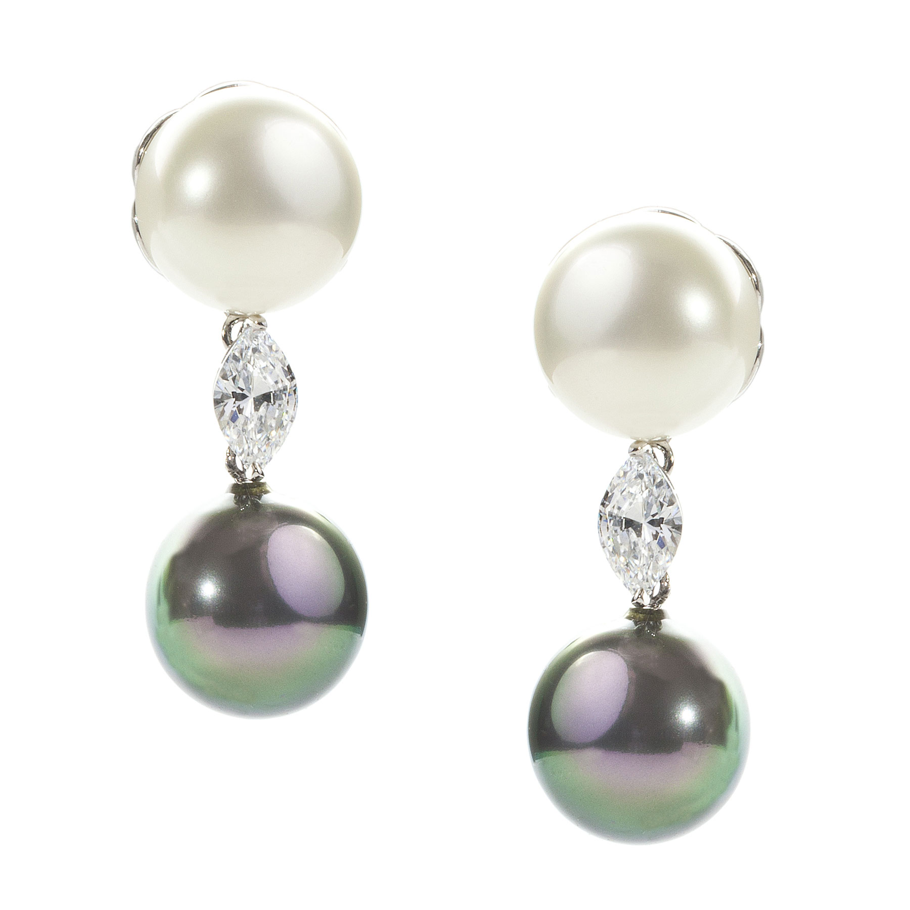 Platinum Tahitian Pearl and Diamond Earrings