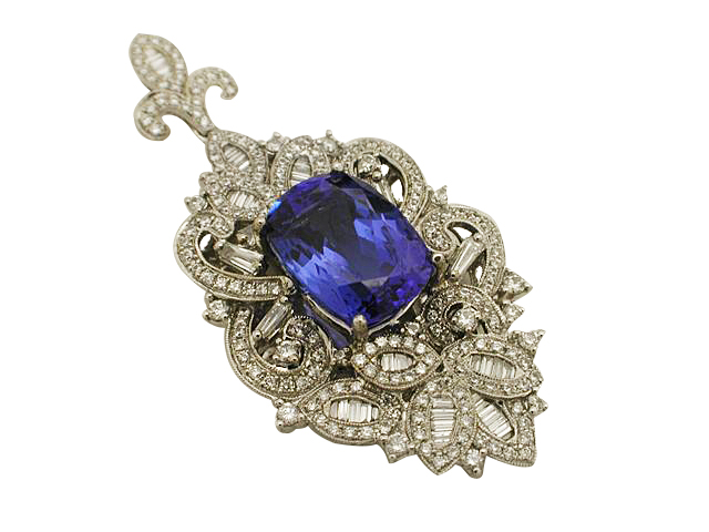 Vintage 14kt White Gold Sapphire and Diamond Pendant