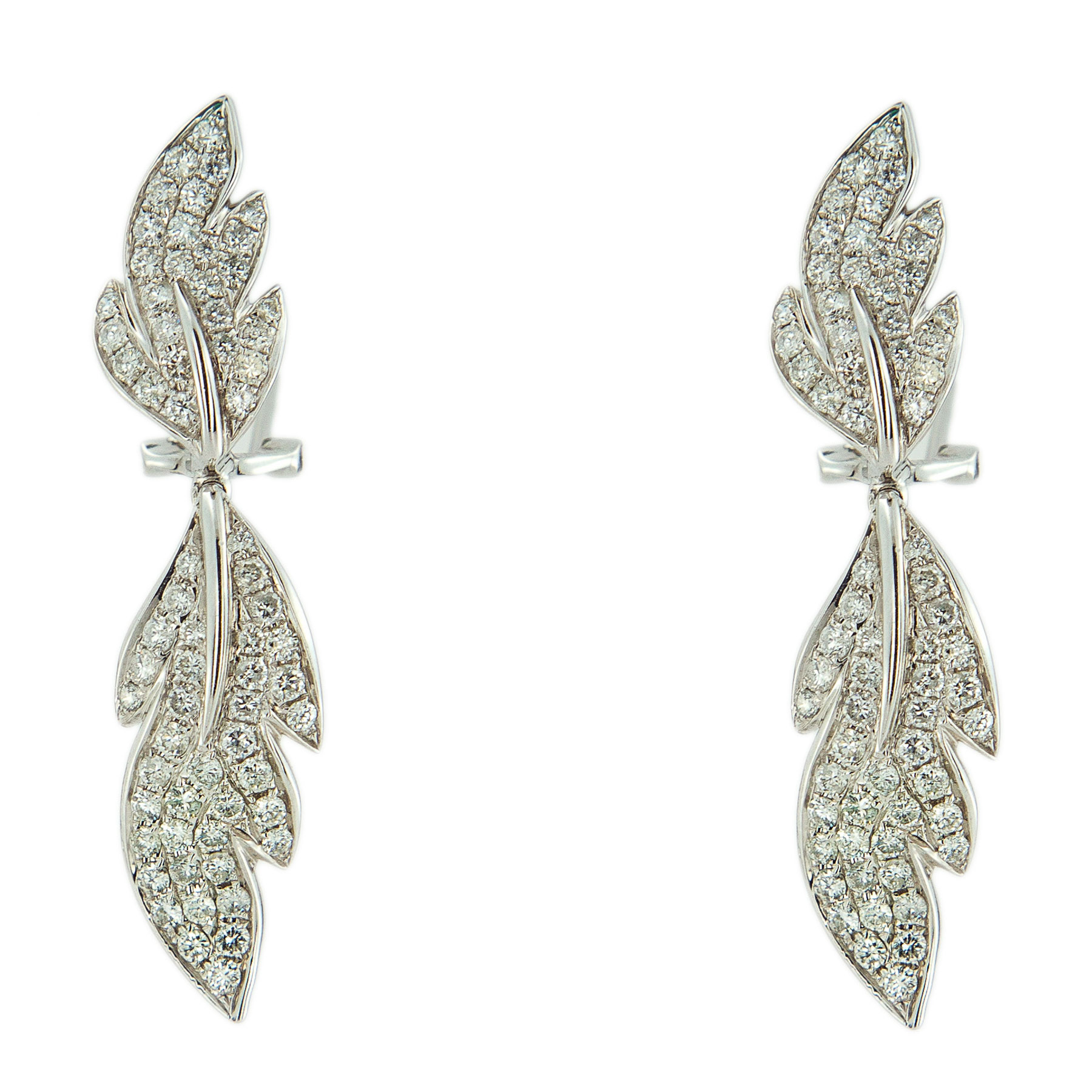 14k White Gold Diamond Leaf Dangle Earrings