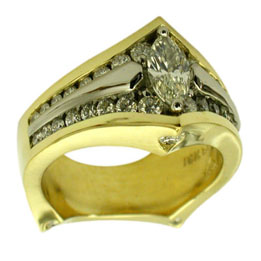 18kt Yellow Gold Platinum Marquis Cut Diamond Ring