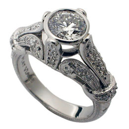 Platinum Bezel Set Round Brilliant Diamond Vintage Style Ring