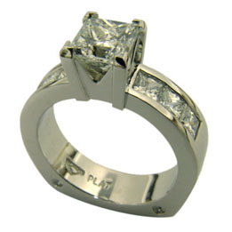 Platinum Princess Cut Diamond Channel Set Ring