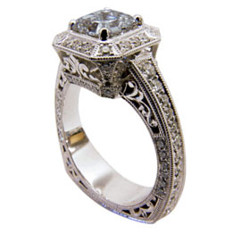 Platinum Princess Cut Diamond Filigree Hand Engraved Ring