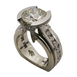 Platinum Round Brilliant Diamond Half Bezel Ring 2