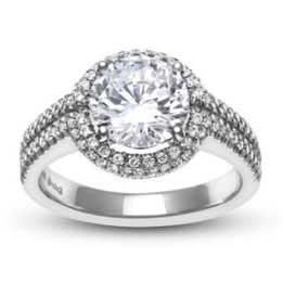 Platinum Round Brilliant Diamond Halo Ring