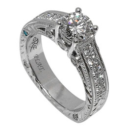 Platinum Round Brilliant Diamond Hand Engraved Ring