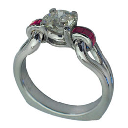 Platinum Round Brilliant Diamond Princess Cut Ruby Ring